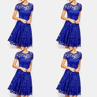 Spandex & Polyester One-piece Dress hollow with Lace patchwork Sold By PC