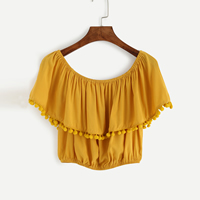 Polyester with little hairball Women Short Sleeve Blouses, off shoulder, Solid, yellow, Size:Free Size, Sold By PC