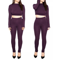 Polyester Women Casual Set, different size for choice, Pants & top, Solid, more colors for choice, Sold By Set