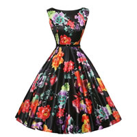 Polyester & Cotton Princess One-piece Dress with belt with Spandex printed floral black Sold By PC