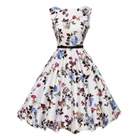 Polyester   Cotton Princess One-piece Dress printed floral white