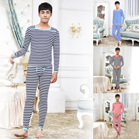 Cotton Men Thermal Underwear Sets printed striped Sold By Set