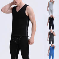 Polyester & Cotton Men Thermal Underwear Sets more thicker and more wool Solid Sold By Set