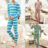 Cotton Men Thermal Underwear Sets, different size for choice, printed, striped, more colors for choice, Sold By Set