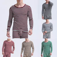 Polyester & Cotton Men Thermal Underwear Sets printed striped Sold By Set