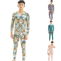 Polyester & Cotton Men Thermal Underwear Sets, different size for choice, printed, different color and pattern for choice, Sold By Set