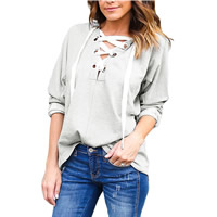 Polyester & Cotton Lace Up Women Sweatshirts Solid Sold By PC