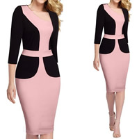 Cotton Women Business Dress Suit, different size for choice & knee-length, patchwork, pink, Sold By PC