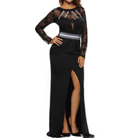 Spandex & Polyester Long Evening Dress, backless & different size for choice & floor-length & transparent, patchwork, black, Sold By PC