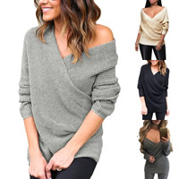 Nylon   Spandex Women Sweater knitted Solid
