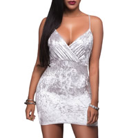Spandex   Polyester Sexy Package Hip Dresses backless Solid