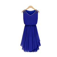 Chiffon One-piece Dress, different size for choice, patchwork, more colors for choice, Sold By PC