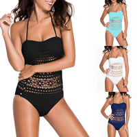 Spandex One-piece Swimsuit backless hollow   padded patchwork Sold By PC