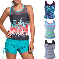 Spandex & Polyester Plus Size Sleeveless Swimsuit Top, different size for choice & transparent & padded, with Gauze, printed, different color and pattern for choice, Sold By PC