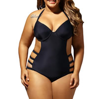 Spandex & Polyester Plus Size Monokini, different size for choice & hollow & padded, Solid, black, Sold By PC