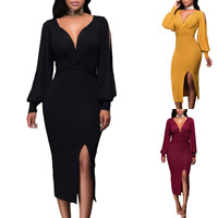 Spandex & Polyester Sexy Package Hip Dresses, different size for choice & hollow & mid-calf, Solid, more colors for choice, Sold By PC