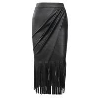 PU Leather Miracle Tassel Skirt Solid black Sold By PC
