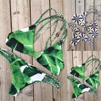 Polyester Bikini, different size for choice & padded, printed, different pattern for choice, more colors for choice, Sold By Set