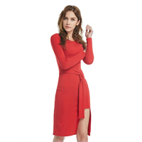 Cotton Asymmetrical Autumn and Winter Dress, with belt & knee-length, Solid, red, Sold By PC