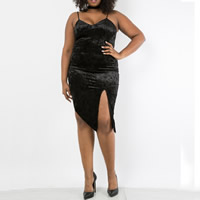 Polyester Plus Size & Asymmetrical Slip Dress, different size for choice, Solid, black, Sold By PC