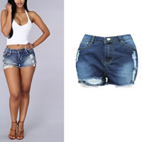Cotton Denim High Waist Shorts, different size for choice, frayed, deep blue, Sold By PC