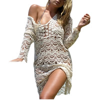 Spandex   Polyester Swimming Cover Ups hollow floral beige Size:Free Size Sold By PC