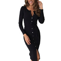 Spandex & Polyester Sheath One-piece Dress, shoulder wrap, plain dyed, Solid, more colors for choice, Sold By PC