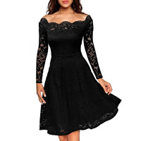 Spandex & Polyester A-line One-piece Dress off shoulder & knee-length embroider floral Sold By PC