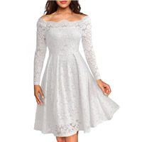 Spandex & Polyester A-line Autumn and Winter Dress off shoulder embroider floral Sold By PC