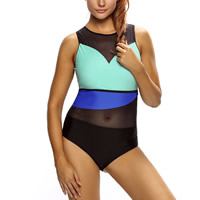 Spandex   Polyester Plus Size One-piece Swimsuit transparent   padded   skinny style patchwork black and blue
