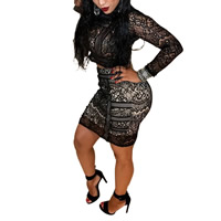 Nylon Crop Top Nightclub Set, different size for choice & hollow, with Lace, skirt & top, patchwork, black, Sold By PC
