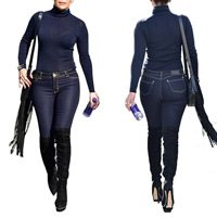 Polyester Women Casual Set long sleeve blouses   Pants Solid blue