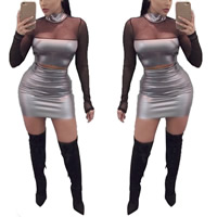Polyester Nightclub Set transparent with Gauze skirt   top patchwork grey