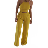 Nylon Women Casual Set backless off shoulder tank top   Pants Solid yellow Sold By Set