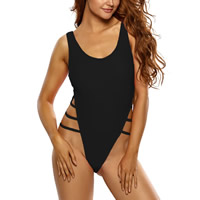 Spandex & Polyester Plus Size One-piece Swimsuit, different size for choice & hollow & padded, plain dyed, Solid, more colors for choice, Sold By PC