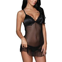 Polyamide & Spandex Plus Size Sexy Babydoll, different size for choice & hollow & transparent, skirt & thong, embroider, floral, black, Sold By PC