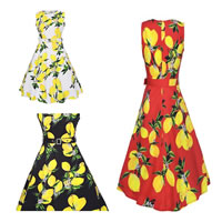 Polyester Princess One-piece Dress with belt printed fruit pattern Sold By PC