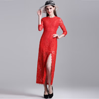 Polyester front slit   Mermaid Long Evening Dress hollow with Lace floral