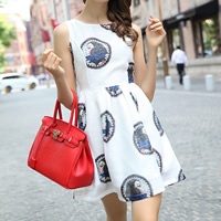 Mixed Fabric   Polyester Pleated One-piece Dress printed character pattern white