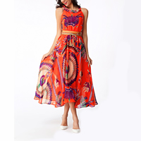 Spandex & Polyester Beach Dress with belt & off shoulder & mid-calf printed floral orange Sold By PC
