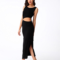 Cotton Long Evening Dress side slit & backless hollow plain dyed Solid black Sold By PC