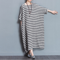 Cotton Fabric without belt One-piece Dress mid-calf printed striped