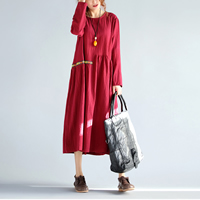Cotton Fabric One-piece Dress loose   mid-calf patchwork