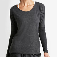 Cotton Women Long Sleeve T-shirt backless hollow plain dyed Solid grey