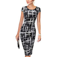 Polyester Sheath One-piece Dress knee-length printed geometric black