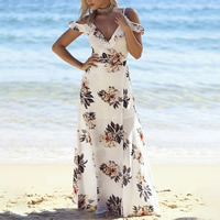 Polyester & Cotton front slit Beach Dress off shoulder printed floral white Sold By PC