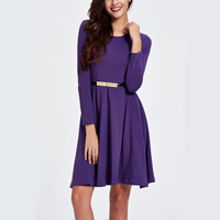 Polyester Princess One-piece Dress with belt plain dyed Solid purple