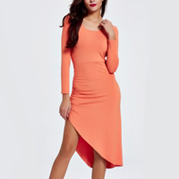 Cotton Asymmetrical One-piece Dress backless plain dyed Solid reddish orange