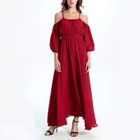Chiffon   Polyester Plus Size One-piece Dress off shoulder   mid-calf plain dyed Solid red