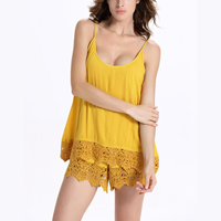 Cotton Women Romper backless hollow plain dyed Solid yellow